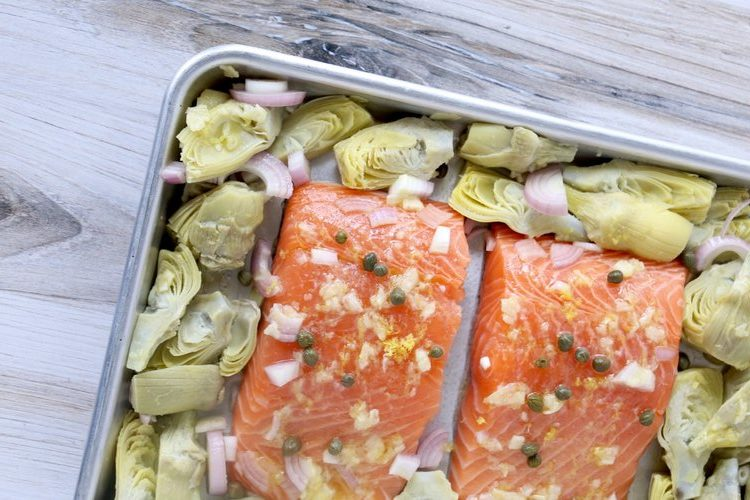 Sheet Pan Lemon Garlic Salmon & Artichoke